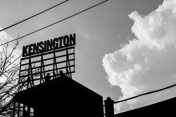 Silhouette of Kensington market sign