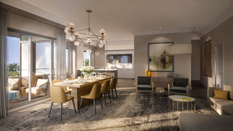 Rendition of a Living Room at The Davies Luxury Condo