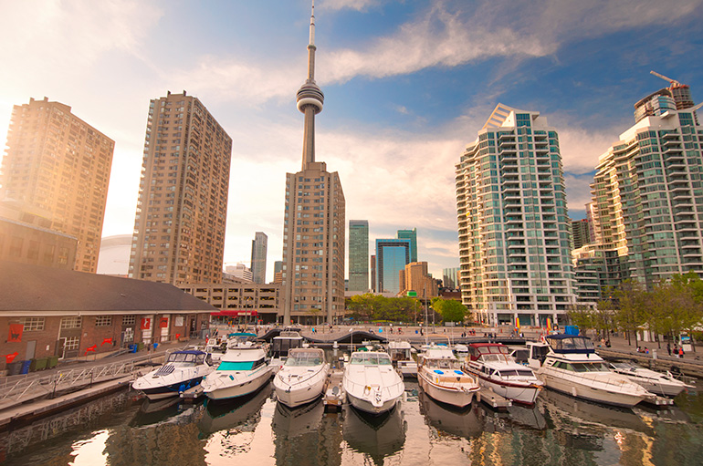 Harbourfront in downtown Toronto with Condo buildings in the background