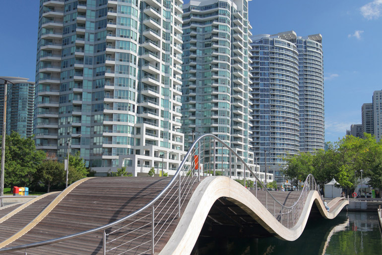 Toronto Waterfront Wavedecks overlooking new Condos in Downtown